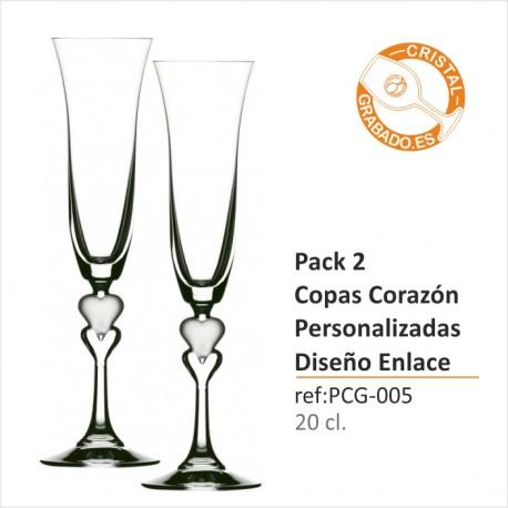 Pack dos Copas de Champán Corazón Personalizadas Diseño Enlace Boda