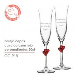 Copas de champán corazón Rojo personalizadas