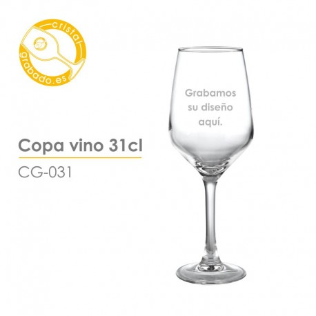 Copa de vino grabada de 31cl.