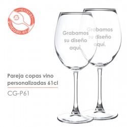 Pareja copas de vino grabadas