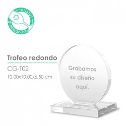 Trofeo cristal redondo personalizado