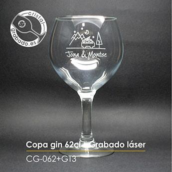 Copa gin tonic personalizada con dibujo boda