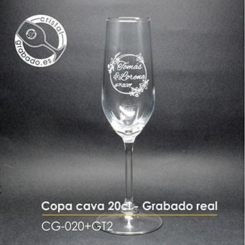 Copa cava personalizado con sello de boda