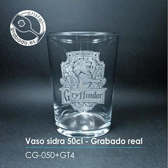 Vaso de sidra personalizado con escudo grabado láser