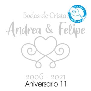 grabado dibujo sello boda 15 aniversario diseño 11