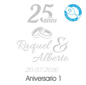 grabado dibujo sello boda 25 aniversario diseño 1