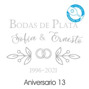 grabado dibujo sello boda 25 aniversario diseño 13