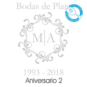 grabado dibujo sello boda 25 aniversario diseño 2