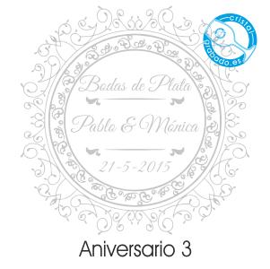 grabado dibujo sello boda 25 aniversario diseño 3