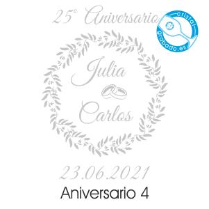 grabado dibujo sello boda 25 aniversario diseño 4