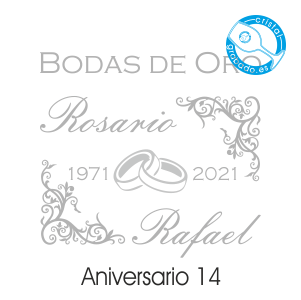 grabado dibujo sello boda 50 aniversario diseño 14