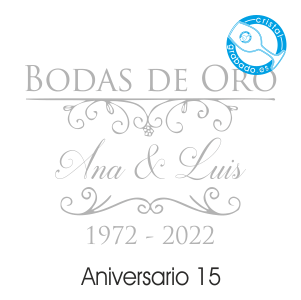 grabado dibujo sello boda 50 aniversario diseño 15