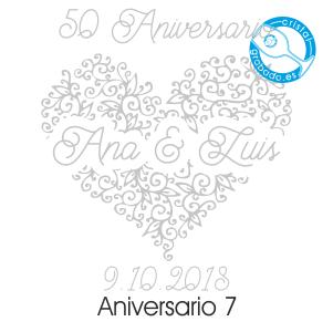grabado dibujo sello boda 50 aniversario diseño 7