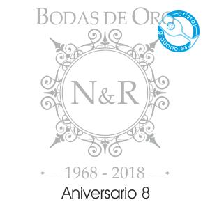 grabado dibujo sello boda 50 aniversario diseño 8