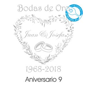 grabado dibujo sello boda 50 aniversario diseño 9