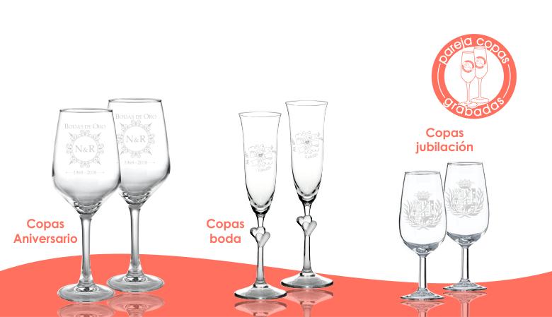Pareja de copas grabadas mediante tecnología láser