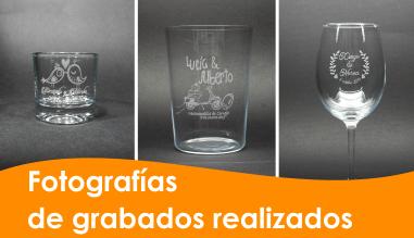 Fotografías de grabados realizados en copas y vasos de cristal