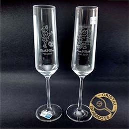 Copas de Champán Personalizadas con dibujo como Regalo de Boda