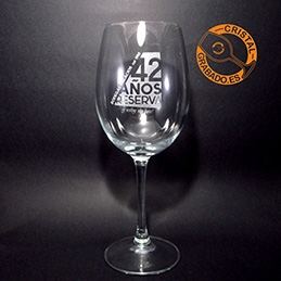 Copas de vino grabadas con diseño aniversario