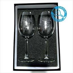 Estuche con dos copas de vino personalizadas por solo 24,90 €