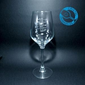 Copa de vino grabada con sello de Boda