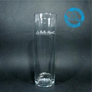 Vaso de tubo grabado con logotipo restaurante.